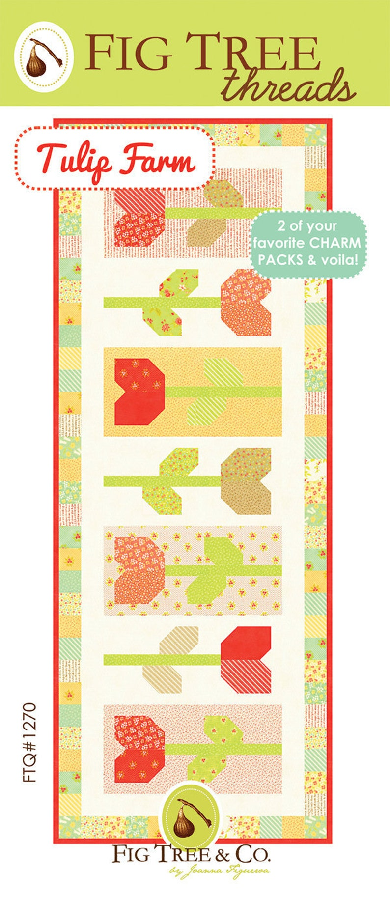 Table Runner Quilt Pattern  Fig Tree Quilts Tulip Farm image 0