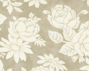 Strawberries & Rhubarb Fabric by Fig Tree and Moda - Light Taupe Rose Floral Fabric by the 1/2 Yard or Fat Quarter