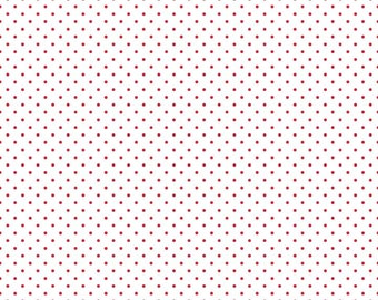 Red Polka Dot Fabric - Riley Blake Swiss Dots Le Creme - Red and Cream Polka Dot Fabric By The 1/2 Yard