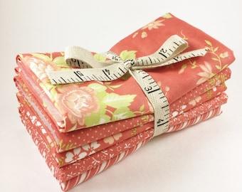Ella and Ollie Fabric - Fat Quarter Bundle - Fig Tree Fabric Bundle - Moda Fabric - Strawberry Red - 5pc