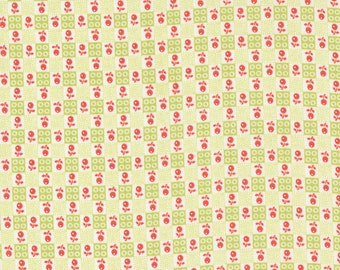 Strawberries & Rhubarb Fabric by Fig Tree and Moda -  Green and White Flower Check Fabric by the 1/2 Yard or Fat Quarter