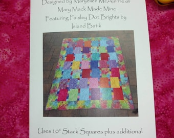 """Quilt Pattern for Stack Tiles using 10"""" squares Booklet of illustrated directions to make a quilt."""