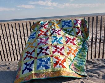 Bright Batik quilt Bazaar Pinwheels Twin Size Patchwork Quilt