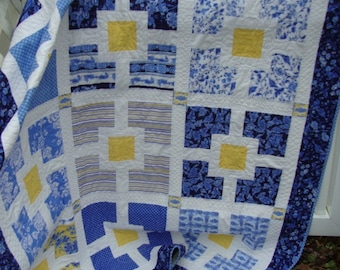 Lap Twin Quilt Blues Yellow White 62 by 79 inches