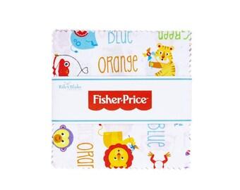 "Fisher Price 5"" Stacker Riley Blake Licensed Fabric Squares"