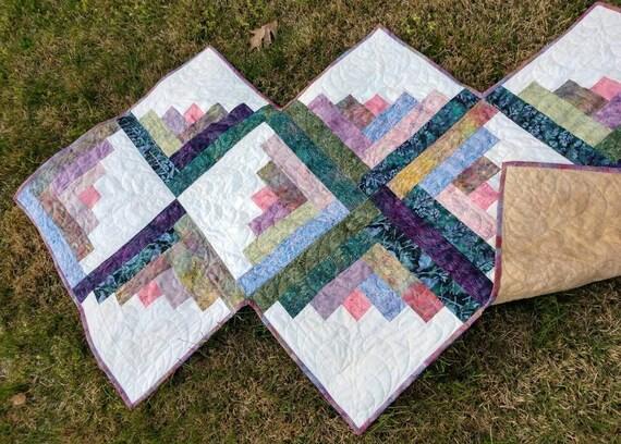 Scrappy Batik Table Topper Mug Rug  Snack Mat or Candle Mat in Purple and Rose