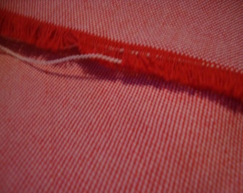Vintage FABRIC Red Polyester Woven Fabric