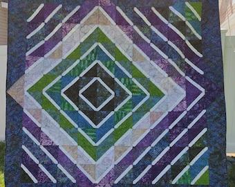 Modern Patchwork Batik Purple Green Radiance Offset Diamond