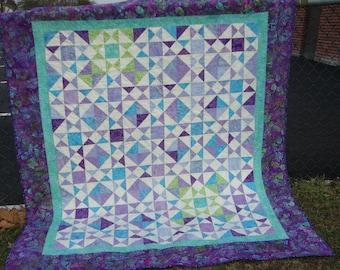 Batik Lap Quilt Throw Twin Coverlet Blue Aqua Purple Lavender Quiltsy Handmade