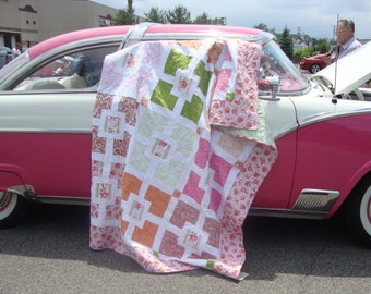 Floral Quilt Pink Orange Paisley Lap Twin Girly