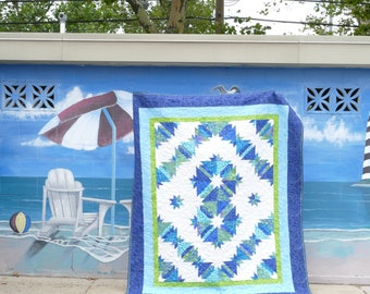 Batik Blue Lime Twin Full Quilt Patchwork Hunter's Star 74 by 90 in.