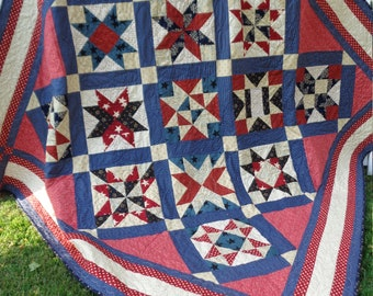"Sampler Quilt Queen Bed Patriotic Red Cream Navy 82"" Square QuiltsyHandmade"