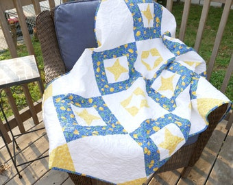 Blue and Yellow Patchwork Lap Quilt Throw Yellow and White Friendship Stars