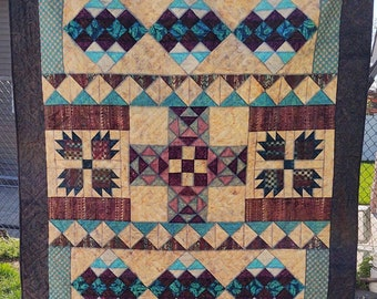 """Santa Fe Southwest inspired Twin Large Lap quilt 74 by 84"""""""