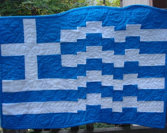 Greek Flag Quilted Wall Hanging ΕΛΛΑΣ