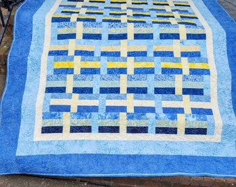 French Blue Patchwork Quilt Blue Yellow Basket Weave Lap Twin 74 by 84 in