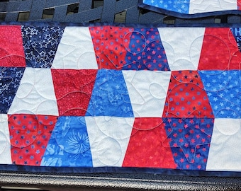 Patriotic Table Runner and Placemat Set Red White Blue Batik
