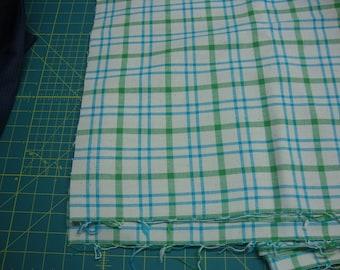 VINTAGE Green Turquoise Plaid on Cream fabric yardage