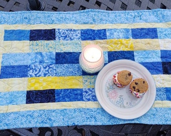 """Blue and Yellow Scrappy Batik Table Runner Topper 18 X 35"""""""