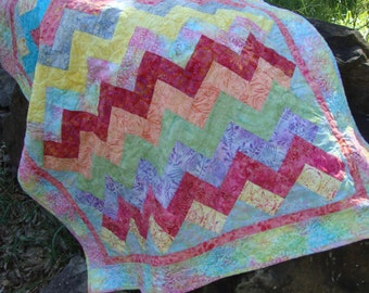 Made to Order Baby Quilt Zig Zag Cheveron Style Batiks You Choose Colors