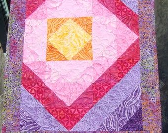 Batik Quilted Wall Hanging Table Topper Mini Quilt