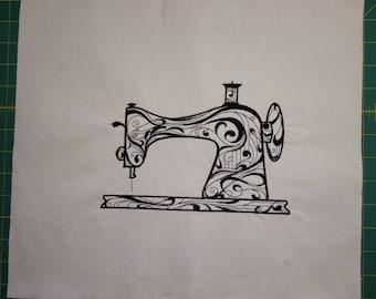 Embroidered Sewing machine block Flourishing Machine block unfinished block