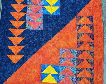 Bright Navy Blue and Orange Batik Baby Lap Quilt