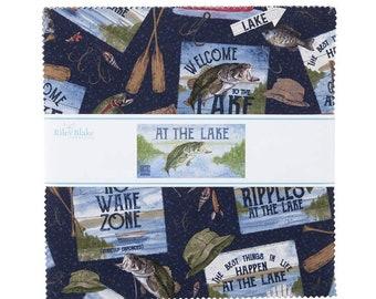 "Riley Blake At the Lake Collection 10"" Squares Fish Fabric"