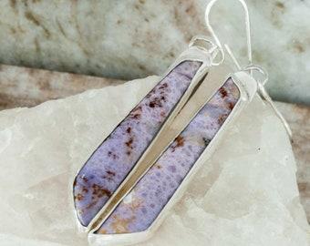 Purple Burro Creek Jasper Earrings Long Earrings Handmade