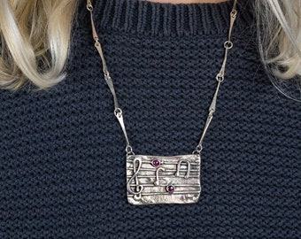 music Staff Pendant in Sterling Silver with Garnet Notes, Handmade