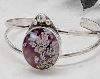 Purple Moss Agate Cuff Bracelet