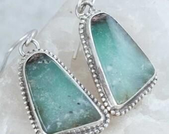 Green Chrysoprase Earrings in Sterling Silver Handmade