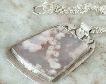 Floral Plume Agate Pendant in Sterling Silver Pink, White and Grey. Handmade