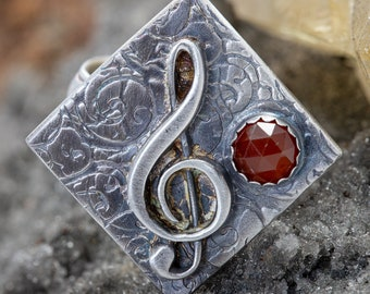 Music Statement Ring in Sterling Silver with Carnelian Stone, Handmade, Size 8