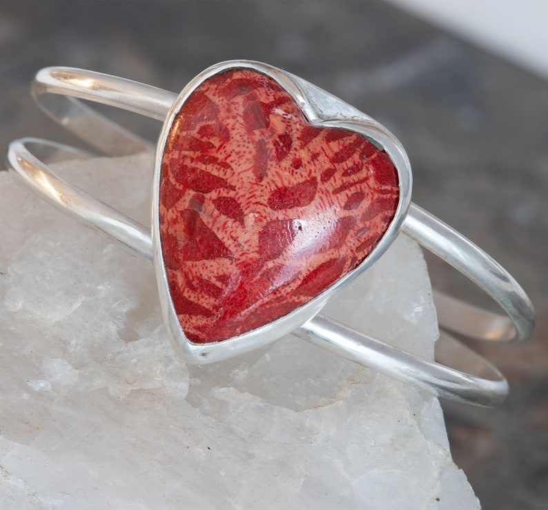 Red Coral Heart Cuff Bracelet in Sterling Silver