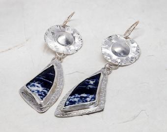 "Sodalite ""Sailboat"" Earrings in Sterling Silver, Dangle Earrings, Blue Stone Earrings, Sodalite Earrings"