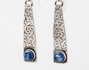Kyanite and Sterling Silver Long Dangle Earrings, Kyanite Earrings