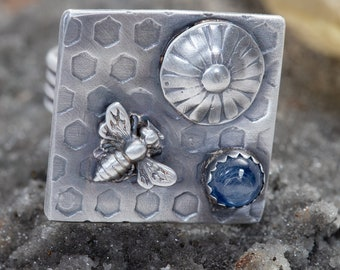 Bee and Honeycomb Statement Ring with Blue Kyanite, Handmade Sterling Silver, Size 8.5