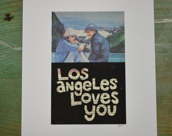 Los Angeles Loves You - Dilemma - Linocut - Book Page Art - Hand-pulled - Reclaimed - Repurposed