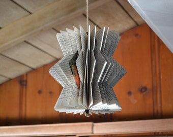 The Ornament - Reader's Digest Condensed Books - Folded Book Art - Recycled, Repurposed, Reclaimed - Paper Anniversary