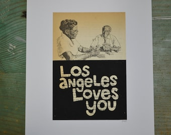 Los Angeles Loves You - Poker - Linocut - Book Page Art - Hand-pulled - Reclaimed - Repurposed