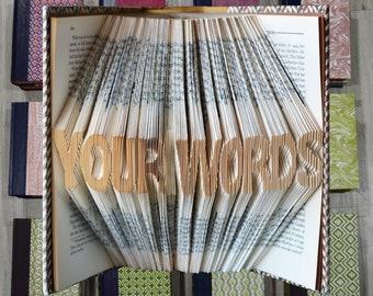 Custom Folded Book - You Say It, I Fold It - Up to 12 characters - Folded Book Art - Birthday Wedding Anniversary - No Tax