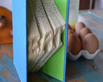 Eat - Summer Food - Folded Book Art - Recycled, Repurposed, Reclaimed - Kitchen Decor - Cookbook - Recipes