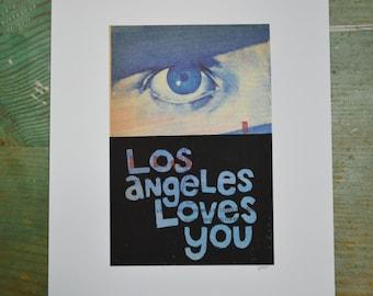 Los Angeles Loves You - Eye - Linocut - Book Page Art - Hand-pulled - Reclaimed - Repurposed