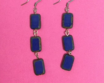 Vintage czech glass drop earrings
