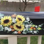 Charming painted mailbox, sunflowers and daisies, spring, summer, gardening, garden art, hand painted mailbox, flowers, curb appeal