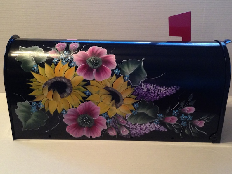 flower mailbox black mailbox Custom ordered hand painted Mailbox with flowers sunflower mailbox,hand painted mailbox
