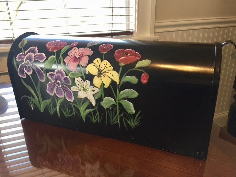 Painted mailbox flower mailbox custom order mailbox personalized painted mailbox irises hand painted with lilies blue purple mailbox