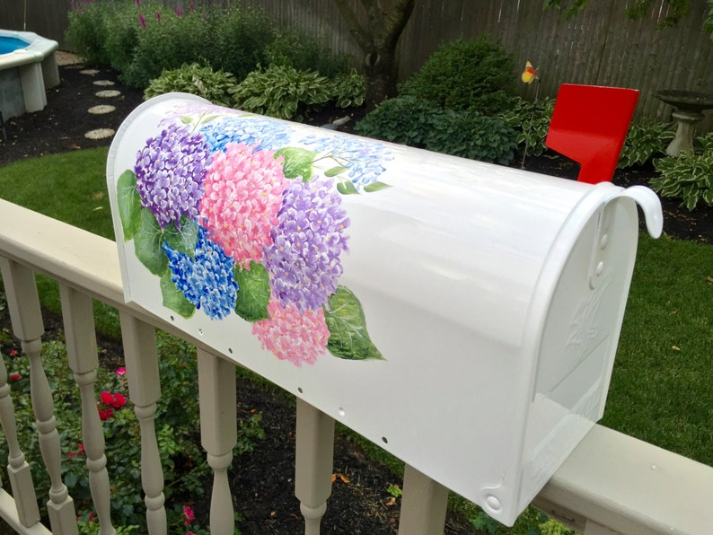 Painted mailbox with Hydrangea custom ordered personalized with house number name address flowers, hand painted decorative mailbox
