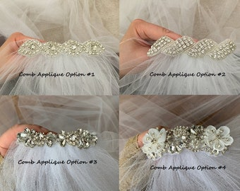 Add rhinestone applique to your veil - veil sold separately and flower not included